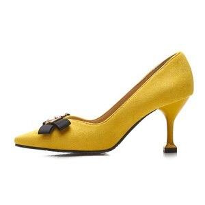 Image 3 - BeckyWalk צהוב/שחור Stilleto אביב נשים נעלי הבוהן מחודדת גבירותיי משאבות דבורה Bowknot עקבים גבוהים שמלת נעלי אישה WSH2630