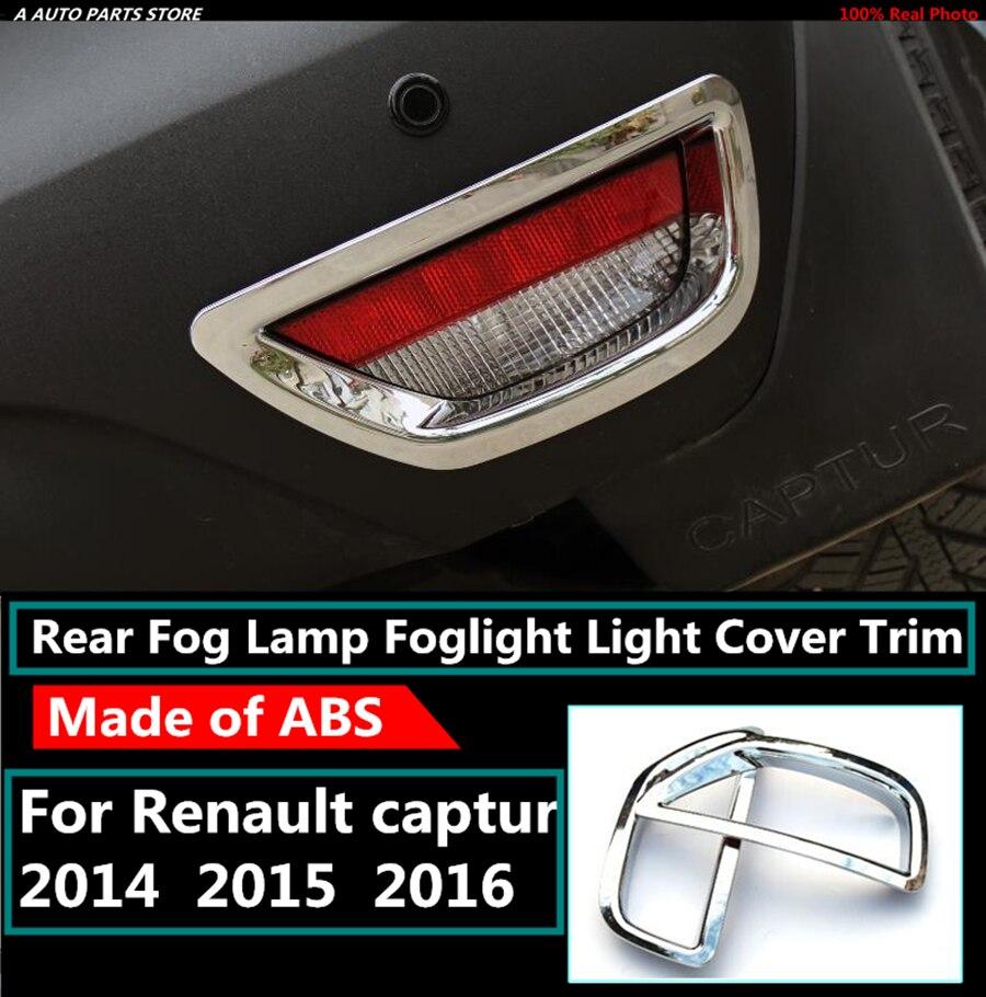ABS Chrome Rear Bumper Fog Lâmpada Luz Capa Kit Guarnição de Moldagem 2 pçs/set Acessórios Para Renault Captur 2014 2015 2016
