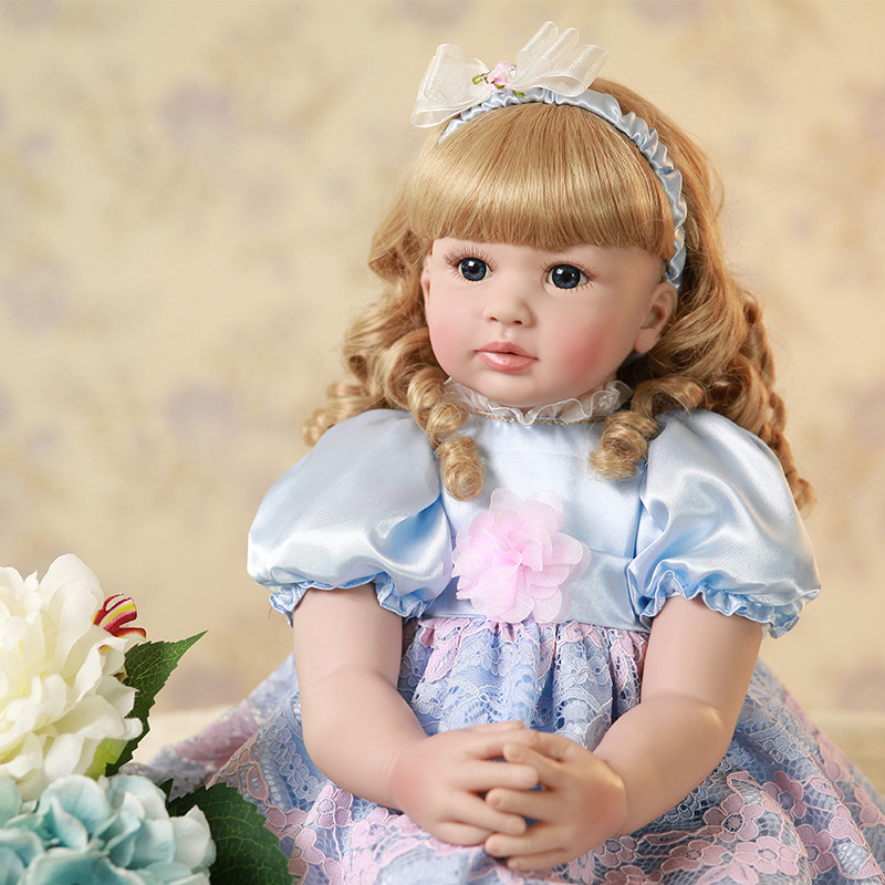 24inch 60cm Soft Cloth Body Silicone Reborn Baby Lifelike Baby Dolls With Golden Curls Girl Bebe Alive Doll Christmas Gifts
