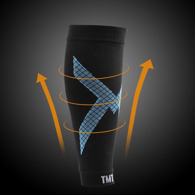 Tmt compressão bezerro manga vôlei de basquete apoio masculino bezerro elástico ciclismo perna aquecedores corrida futebol esporte manga perna 2