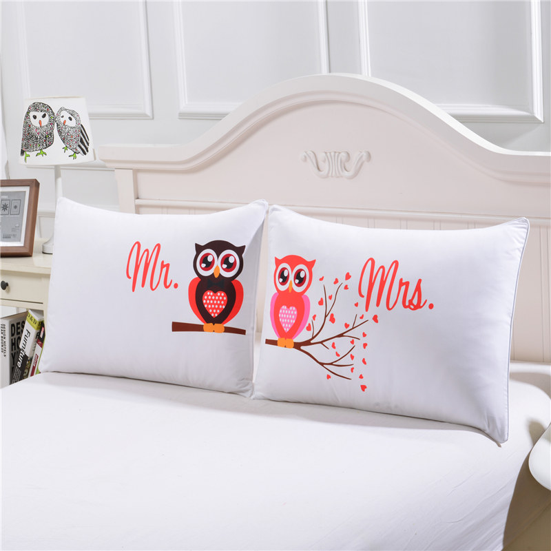White Color Pillow Cover Owl Printed Mr and Mrs Couples Pillow Case ...
