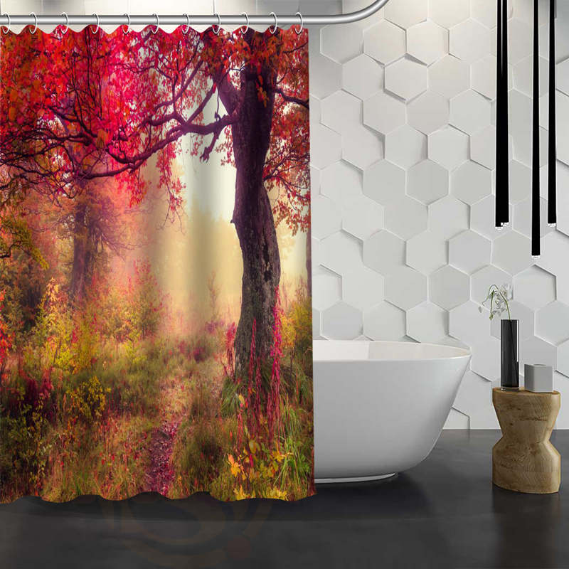 Hot Sale Custom Forests Autumn Trees Shower Curtain Waterproof Fabric Shower Curtain for Bathroom F#Y1-17