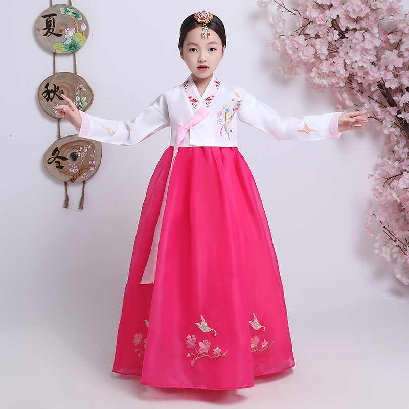 Children Embroidered Korean Hanbok Dress Traditional Palace Wedding Clothing  Korean Minority Dance Costumes Party Cosplay 90