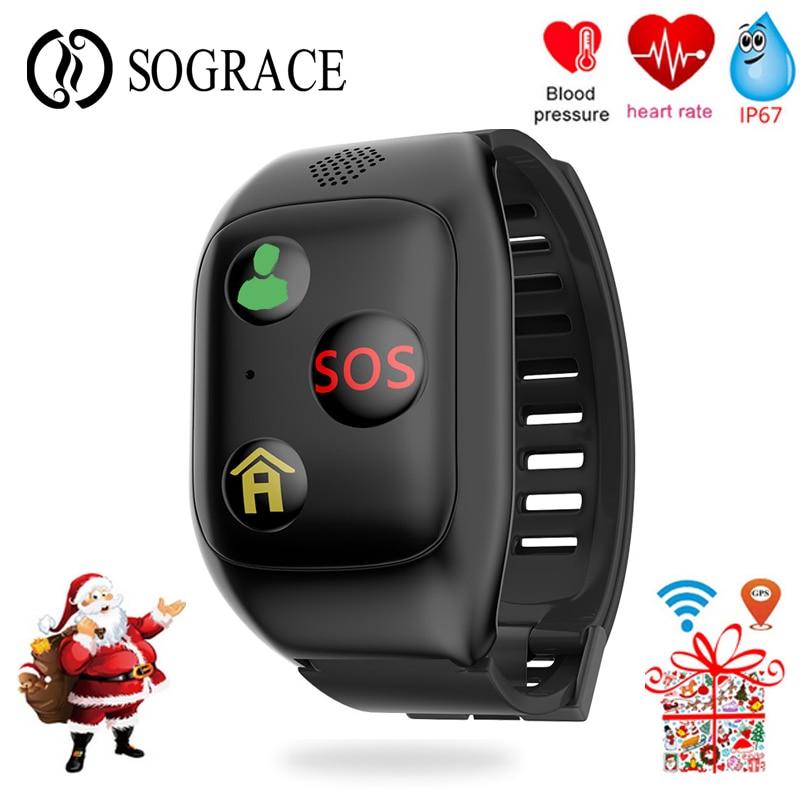 Personnes âgées Santé GPS Smart Bracelet IP67 Étanche Bande À Puce Avec SOS Aider À Tomber Vers Le Bas Rappel Bracelet 600 mah Grand Batterie