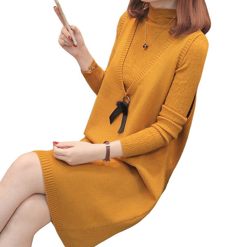 2018 Autumn Women's Sweater Dress V neck Two piece Knitting Vest Sweaters Set Pullovers Knitted Sweaters Female Jumper Tops S96-in Pullovers from Women's Clothing    1