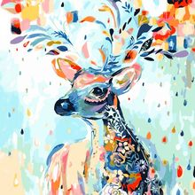 40*50CM DIY Oil Painting Paint By Numbers	Digital Hand-painted Living Room Restaurant Character Decoration Painting Colorful Elk