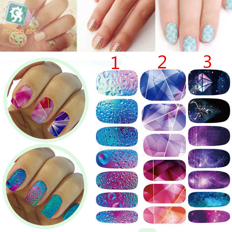 Shellhard 14PCS Fashion Nail Art Stickers 3 Styles Water Transfer ...