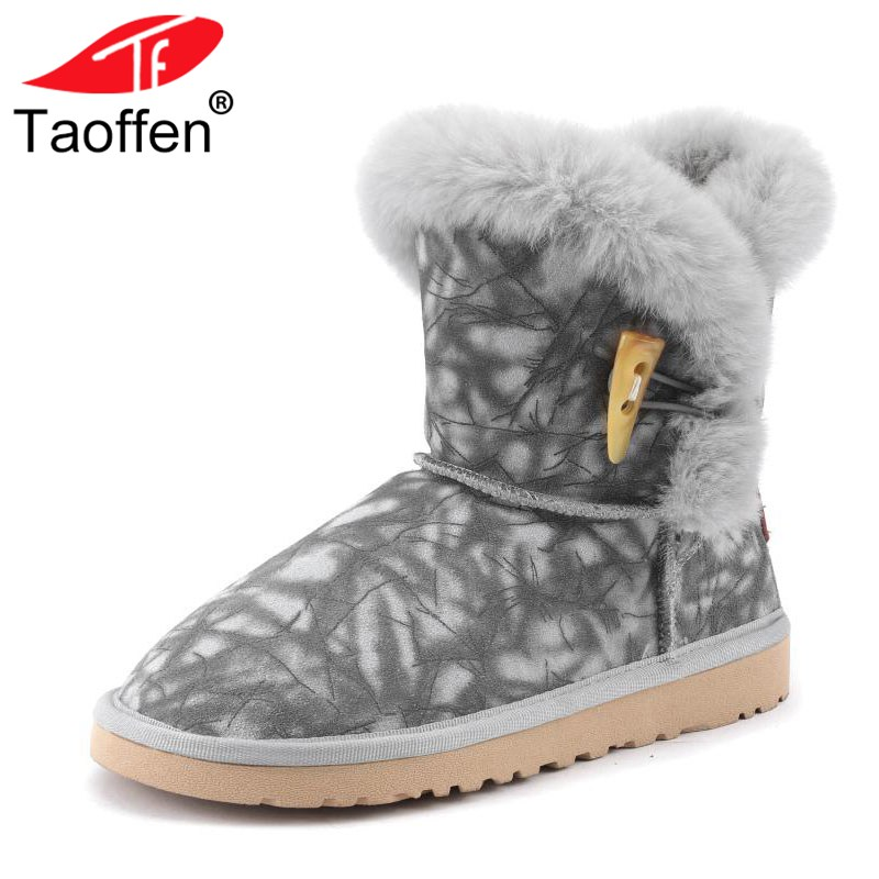 Taoffen Women Real Leather Flats Snow Boots Winter Plush Fur Shoes Women Warm Ankle Boots Mixed Color Footwear Size 34-39 taoffen luxury women genuine leather mid calf boots winter plush fur warm shoes women gothic buckle flats boots size 34 39