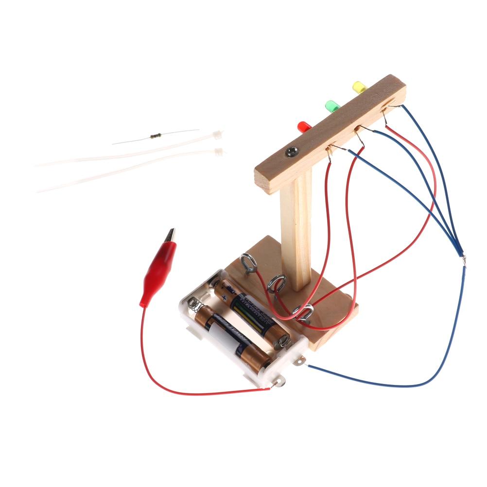 New DIY Science Technology Baby Kids Handmake Assembled Educational Mini Model Experiment Traffic Lights Gifts For Children Kids