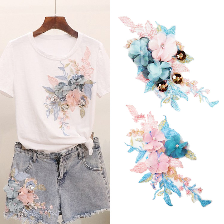 2019 New Fashion DIY Flowers Applique Water Soluble Embroidery  Sewing Fabric T-shirt Wedding Dress Decals(China)