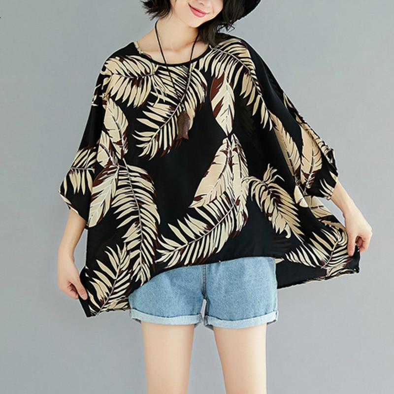 Women Summer   Blouse     Shirts   Plus Size Femme Loose Tops Large Clothing Vintage Black Print Leaves Batwing Chiffon Tee 2019 LP192