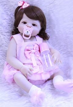 NPK full silicone reborn baby girl dolls 22inch curly hair princess doll toy gift bebes reborn com corpo de silicone menina