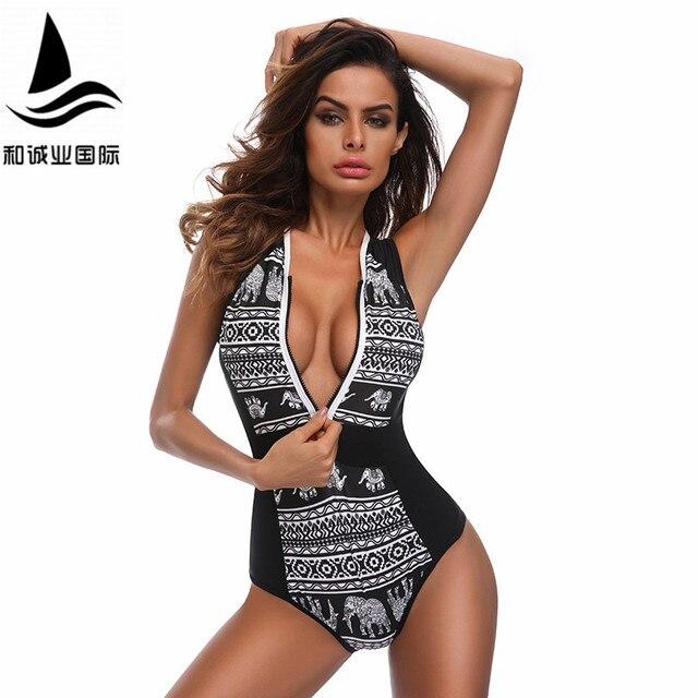 0258316070 Sexy Black Curve Push up swimsuit one piece Swimsuit Monokini Bikinis 2017  Swimwear maillot de bain femme