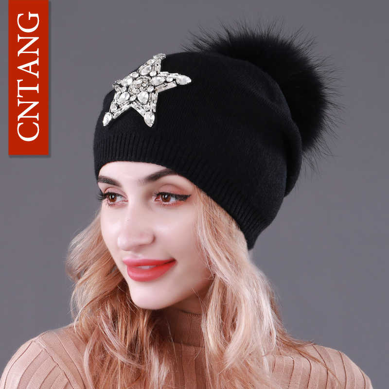 1bdbeb19aed CNTANG Autumn Knitted Wool Hats For Women Winter Warm Caps With Star  Rhinestones Natural Raccoon Fur