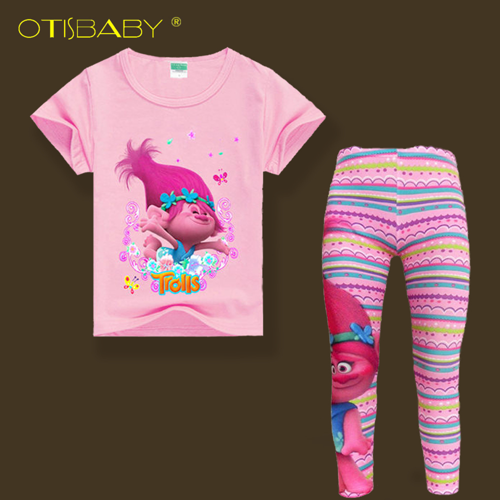 Trolls Short Sleeve T Shirts & Rainbow Leggings For Girls Summer Cartoon Clothing Sets Cartoon Costume For Kids Toddler Clothes