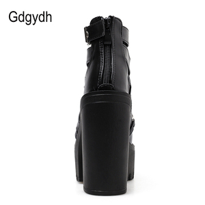 Image 4 - Gdgydh Drop Shipping Fashion Chain Women Shoes Zipper Square High Heel Ankle Boots For Women Punk Shoes Platform Spring Autumn