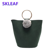 2016 scrub leather Composite Bag vintage bucket tote bag circusy women handbag hair bulb shoulder messenger bags