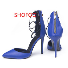 shofoo shoes.Free shipping, beautiful blue cashmere leather shoes (deep blue PU), pointed toe pumps. SIZE:34-45