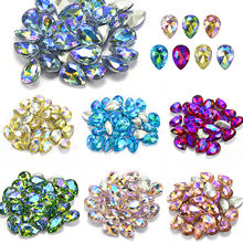 10Pcs/Lot 3D Nail Art Rhinestones Shining Color Flame Glass Stone Crystal Water Drop Nail Decoration Tool Nail Accessory BE102 цена 2017