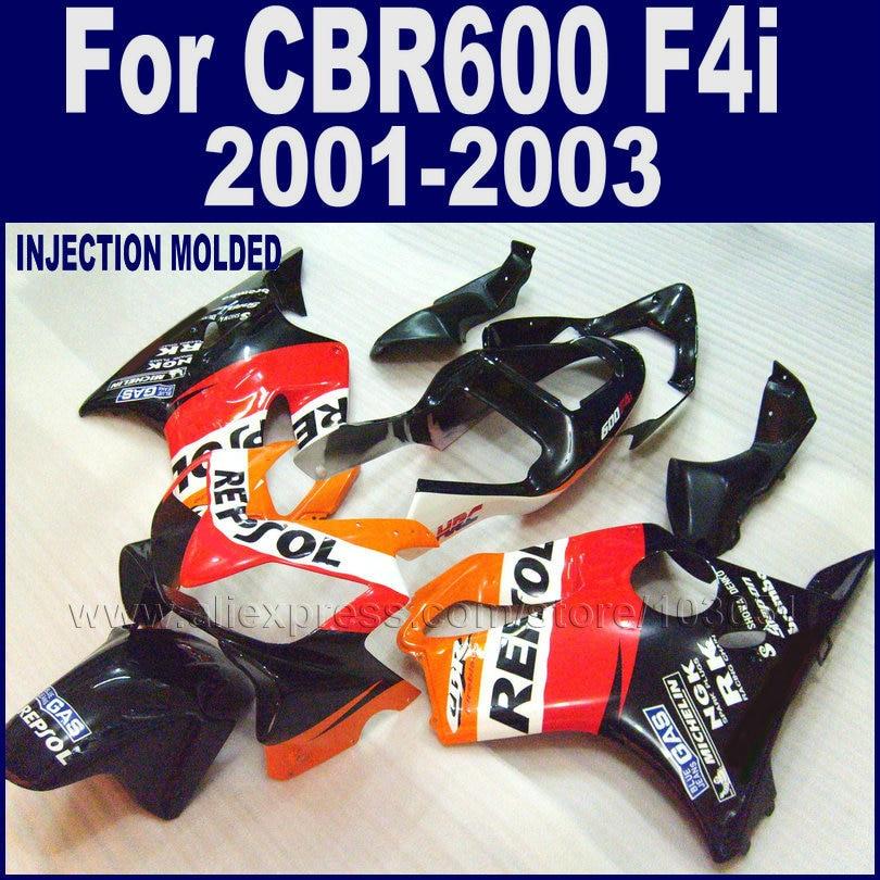 Motorcycle injection fairings kit for Honda repsol 2001 2002 2003 CBR 600 F4i cbr600f4i 01 02 03 ABS plastic road fairing kits