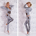 Autumn Winter 2PCS Tracksuits Velour Suit Leopard Bow Women Sexy Track Suit Hoodies TOPS PANTS Zipper Size S - XL Casual Clothe