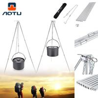 AOTU Outdoor Camping Cooking Tripod Hanging Pot Supper Durable Portable Campfire Picnic Pot Cast Iron Fire
