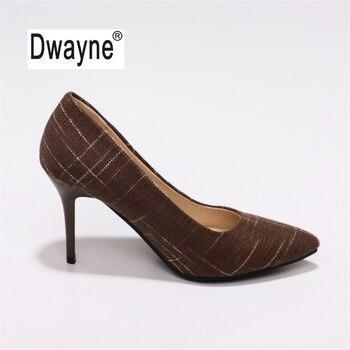 Big Size Women's Shoe 9cm MOC 2 High Heels Pumps Party Shoes For Women Canvas Wedding Shoes chaussure femme