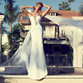 Unique Ivory Chiffon Wedding Dresses Beaded Lace Halter Backless Mermaid Wedding Dress Sexy Bridal Dresses Wedding Gowns PM78