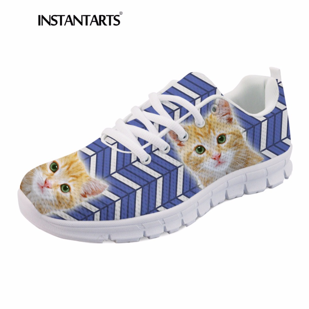 Up Femmes Zapatilla Conception De Avec Lace Hk1000aq Appartements Motif Mignon Mujer Rayé Le Chat Mode Sneakers Confortable Chaussures Instantarts Pa4xAa