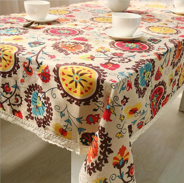 Liner Cotton Tablecloths For Square Tables Dust Anti Vintage Dining Table  Cover Floral Printed Table Runners