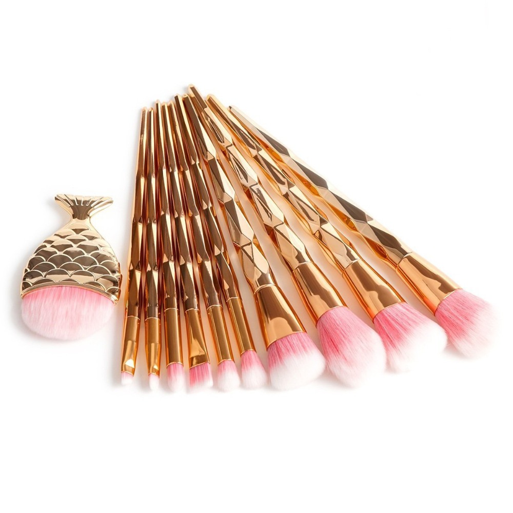11Pcs Diamond Rose Gold Makeup Brushes Set Foundation Powder Blush Eye Shadow Mermaid Rainbow Brush Cosmetic Beauty Tools Kit