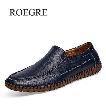 ROEGRE Men Casual Shoes Genuine Leather Moccasin Loafers Masculino Handmade Slip On Flat Boat Shoes Male Footwear Size 38-47