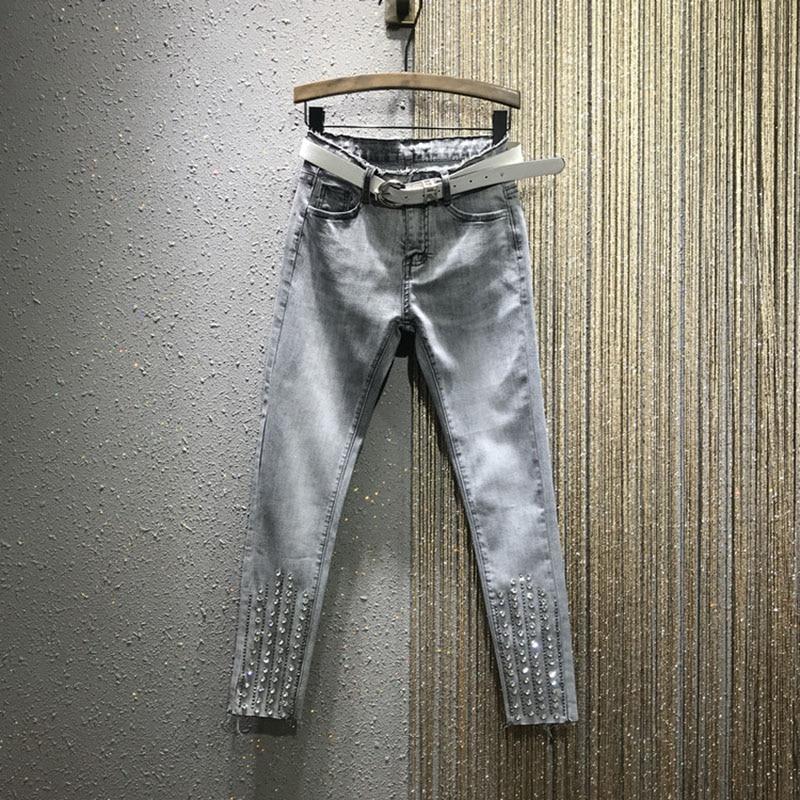 Rhinestone Beaded Women Jeans Slim Solid Blue Pencil Female Ankle Length High Waist Tassel Pants Top Quality