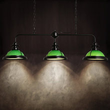 Американской Стране Промышленного Ретро Железа Подвесной Светильник Творческий Зеленый Стекло Тень Бар Свет Старинные Столовой Свет Бесплатная Доставка