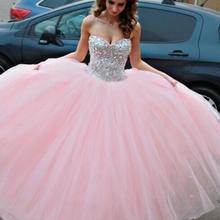 Розовый Дешевые Бальные платья бальное платье Элегантное Тюлевое украшенное бисером кристаллы вечерние платья 16