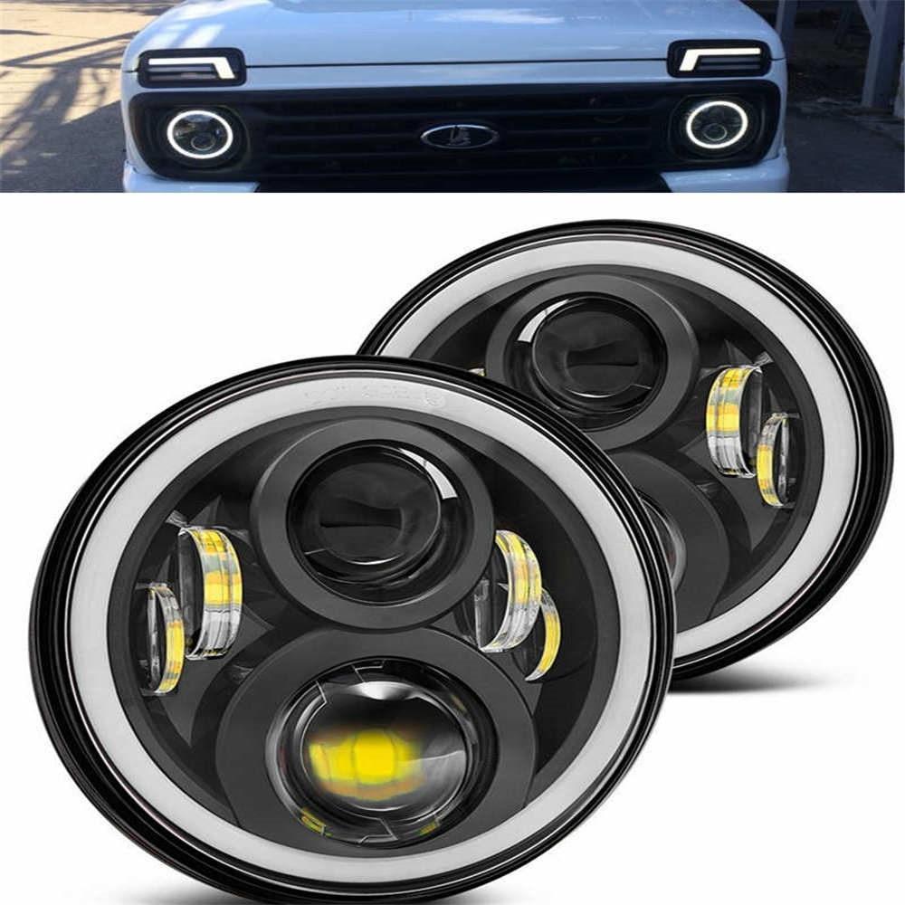7 Inch Round Daymaker Projector H4 LED Headlight For Jeep Wrangler JK TJ LJ.For Lada 4x4 urban Niva 7 inch headlight.1