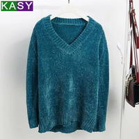Chenille Women Warm Winter V neck Sweater Pullovers 2018 Chunky Navy Blue Thick Comfy Sweater pull hiver femme 2019
