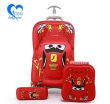 3 Pçs/set nova moda bagagem do trole estudantes dos desenhos animados caso 6D EVA conjunto mala de viagem mala caixa de lápis criança caçoa o presente(China (Mainland))
