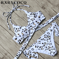 Top Brand RXRXCOCO Printed Bikini Set Women Sexy Swimsuit Halter Push Up Bikini Bandage Swimwear Female