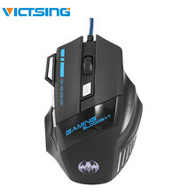 VicTsing USB Wired Gaming Mouse 1600 2200 3200 5500DPI Optical Professional Mouse with 7 Buttons LED Light Mouse for PC Laptop rh2500 usb 2 0 wired 3200 2400 1600 800dpi led gaming mouse black green