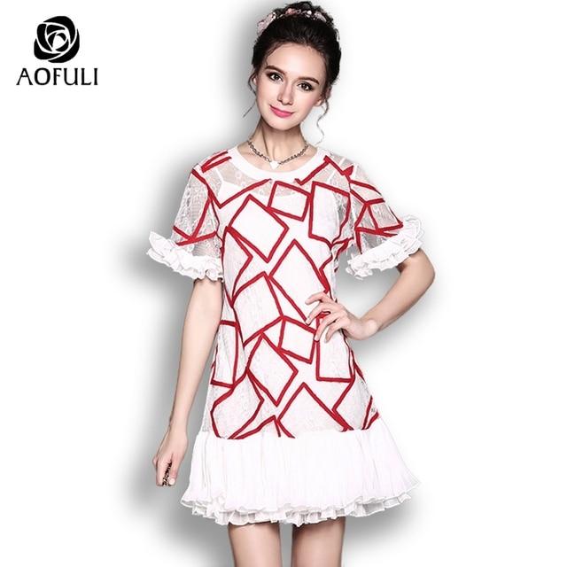 b6d49e53be4 AOFULI Fashion Designer Lace Dress Plus Size Brand Short Sleeve Ruffles  Dress Red White Party Vesitdos S- XXXL 4XL 5XL 5501