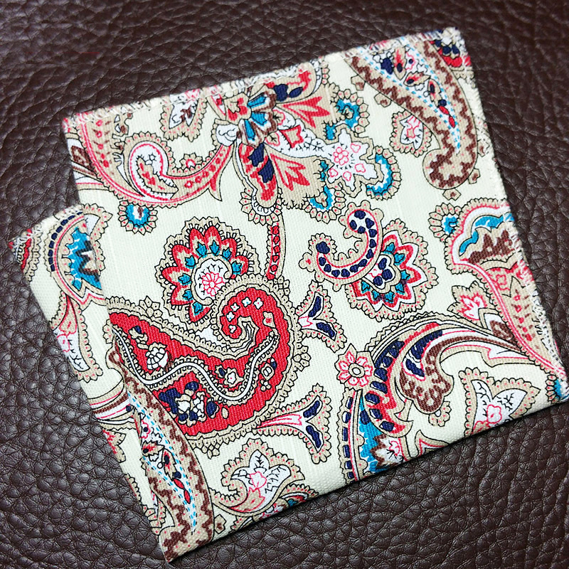 22 Cm Fashion Boys Men Cotton Floral Print Pocket Square With Cartoon Paisley Striped Fruit Design