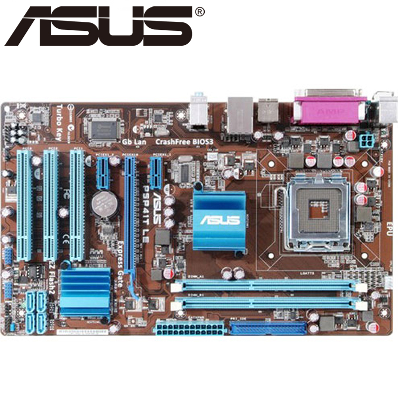 Asus P5P41T LE Desktop Motherboard P41 Socket LGA 775 Q8200 Q8300 DDR3 8G ATX UEFI BIOS Original Used Mainboard On Sale asus p5k se epu original used desktop motherboard p35 socket lga 775 ddr2 8g sata2 usb2 0 atx