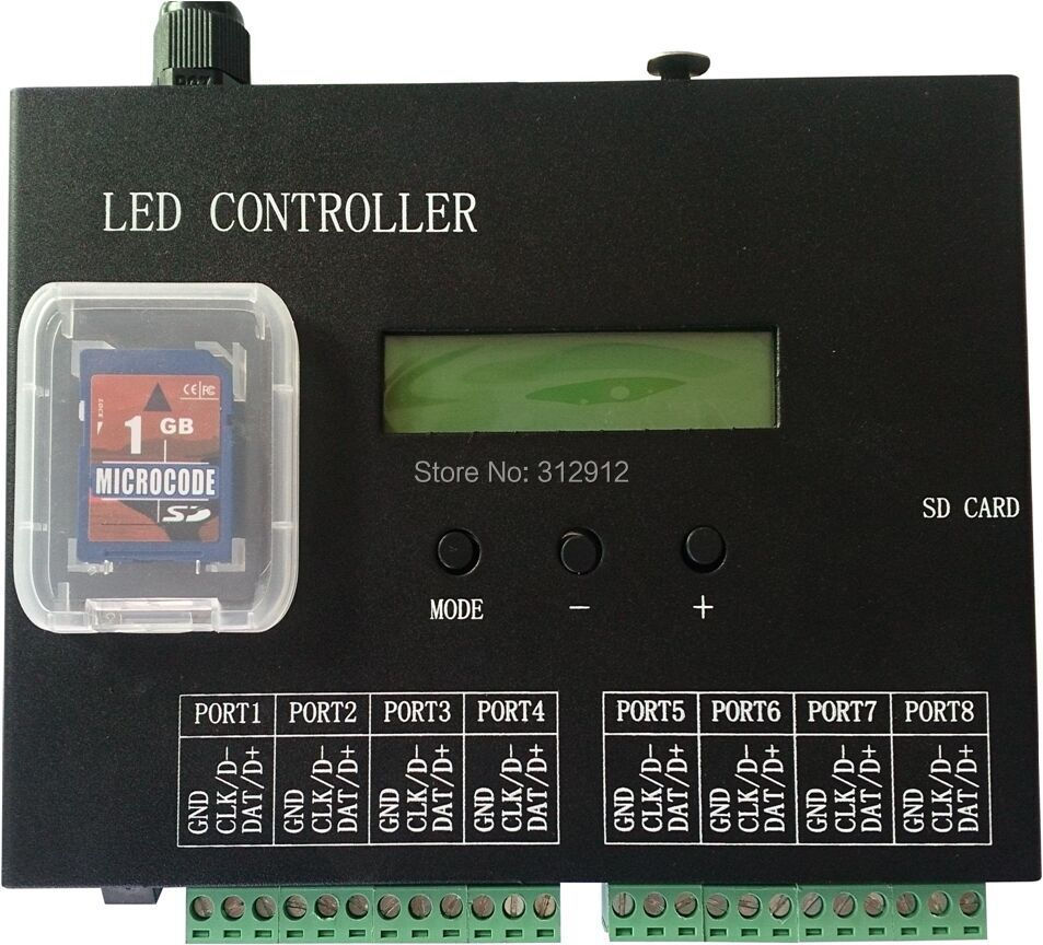 8port off-line/stand-alone/SD card/full color pixel controller;8192pixels controlled;can connect to DMX console dmx512 digital display 24ch dmx address controller dc5v 24v each ch max 3a 8 groups rgb controller