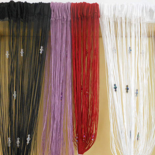 Tangpan 100200cm Sparkle Beaded String Fringe Door Curtain Window Fly Screen Room Divider Panel