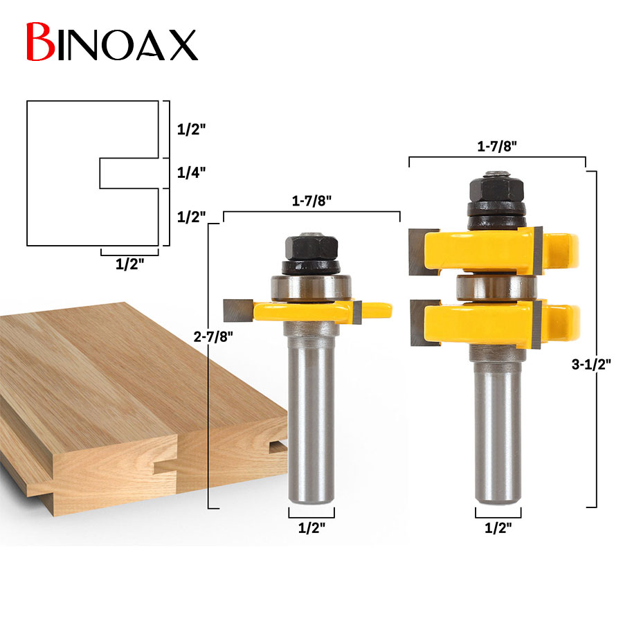 Binoax 1-1/4 2 Bit Tongue and Groove Router Bit Set - 1/2 Shank binoax 2pcs set tongue and groove router bit set woodworking tools 1 4 shank