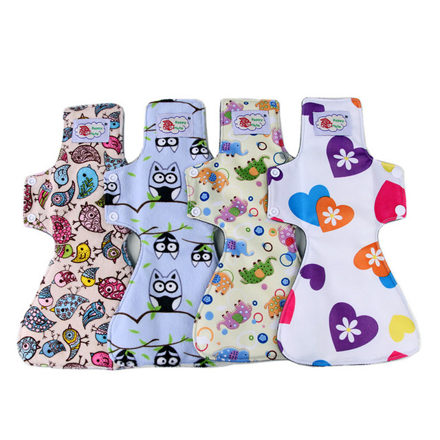 "4 Pads, 12"" Night Use Cloth Menstrual Pad, Heavy Flow Bamboo charcoal Female Sanitary Pad, Reusable Washable Sanitary Napkin"