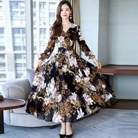Casual Women Dresses Autumn 2019 New Fashion Long Sleeve Flowers Print Chiffon Dress Women Evening Party Long Dress M XXXL