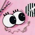 Corea damas de la moda grandes ojos para iphone 6 plus 6 s de ojo caso de cáscara de la cubierta funda de silicona para iphone 6 6 s con metales cadena