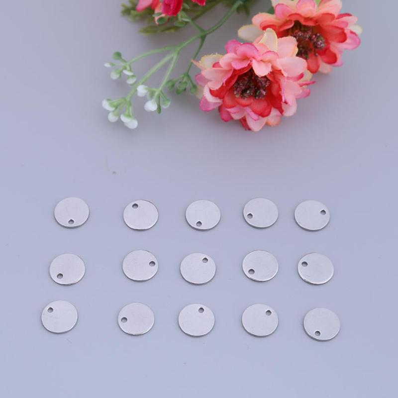 100pcs Round Tags Stainless Steel Stamping Blanks Charm Pendant DIY Jewelry